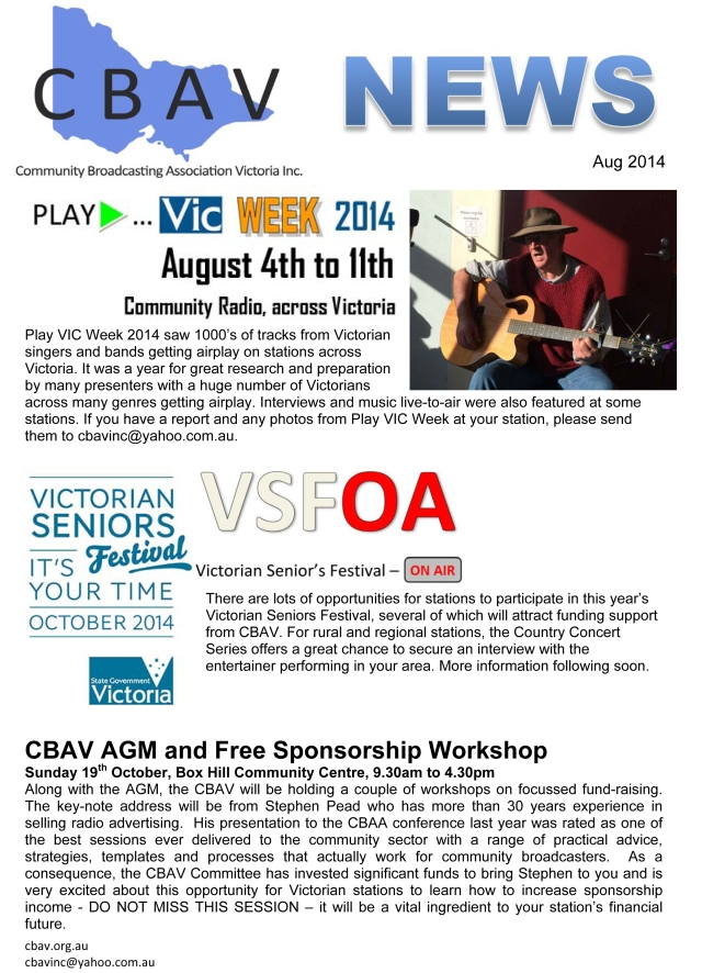CBAV News - Aug 2014